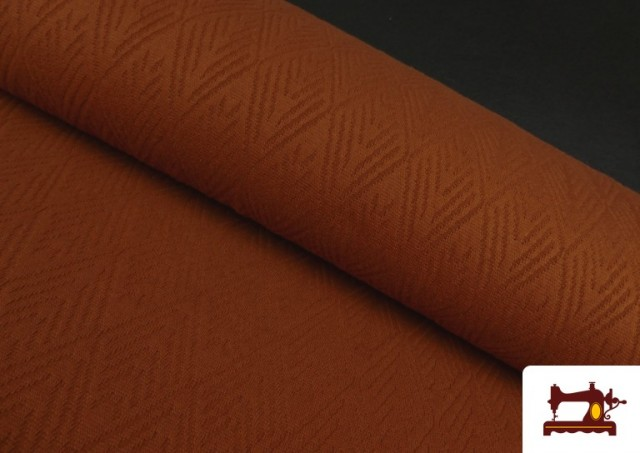 Comprar online Tela de Jersey Tricot Dibujo Tejido Étnico color Teja