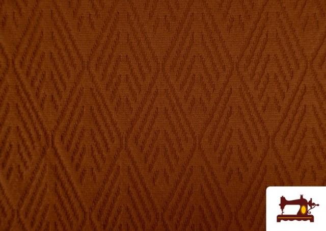 Venta online de Tela de Jersey Tricot Dibujo Tejido Étnico color Teja