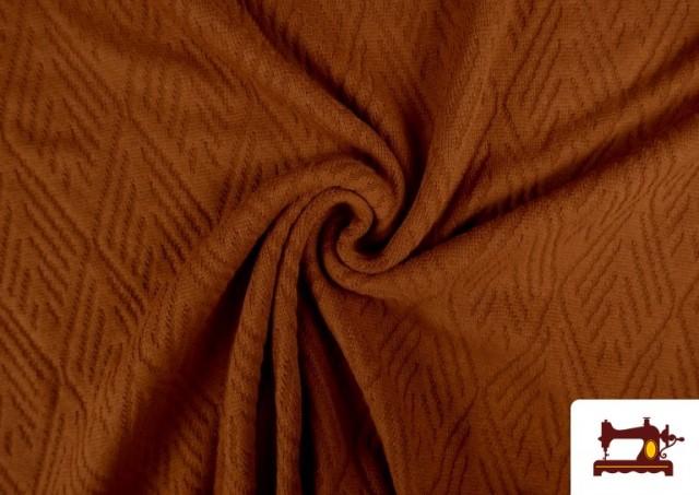 Tela de Jersey Tricot Dibujo Tejido Étnico color Teja