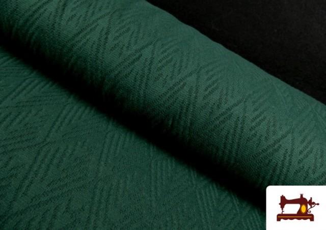 Tela de Jersey Tricot Dibujo Tejido Étnico color Verde botella