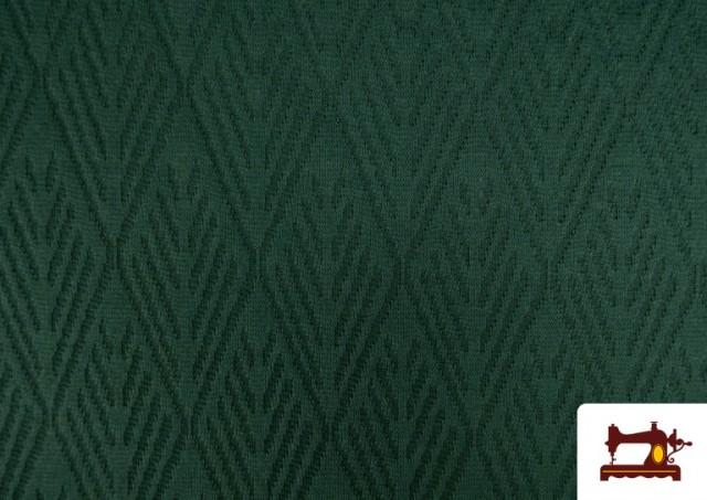 Venta de Tela de Jersey Tricot Dibujo Tejido Étnico color Verde botella