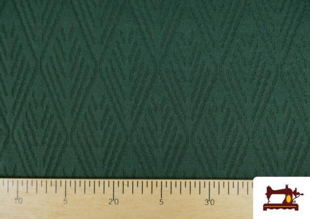 Comprar online Tela de Jersey Tricot Dibujo Tejido Étnico color Verde botella