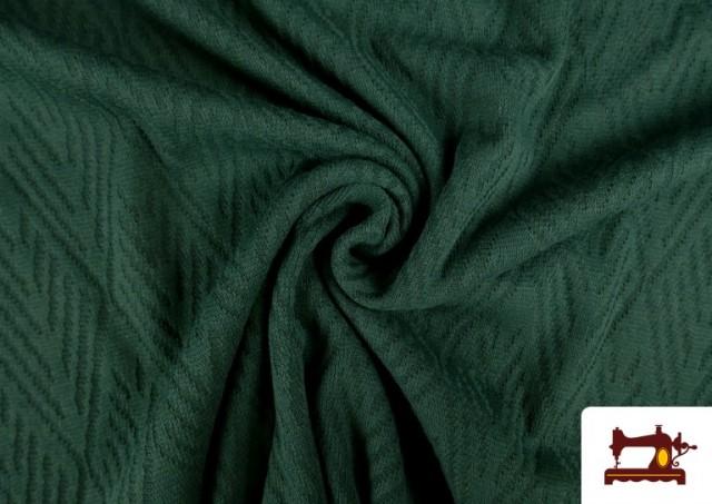 Venta online de Tela de Jersey Tricot Dibujo Tejido Étnico color Verde botella