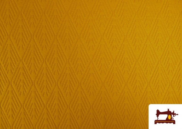 Tela de Jersey Tricot Dibujo Tejido Étnico color Mostaza
