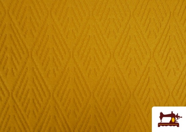Comprar Tela de Jersey Tricot Dibujo Tejido Étnico color Mostaza