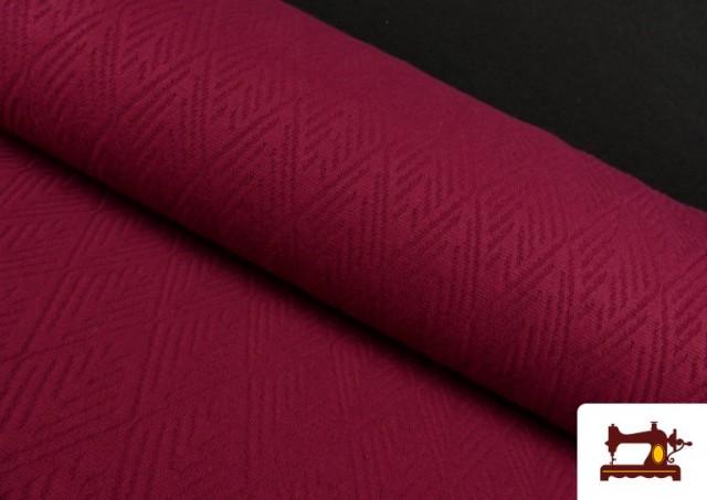 Comprar online Tela de Jersey Tricot Dibujo Tejido Étnico color Granate