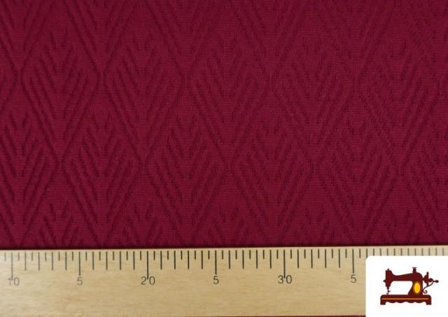 Tela de Jersey Tricot Dibujo Tejido Étnico color Granate