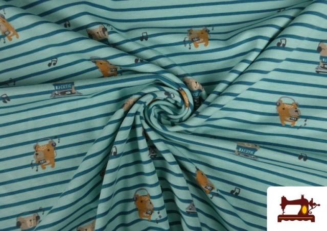 Venta online de Punto de Camiseta Estampado Animales DJ y Rayas