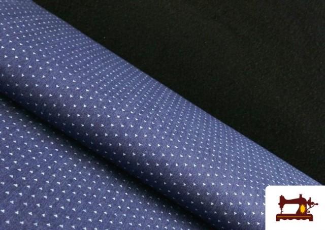 Tela Tejana Estampado Geométrico Triangulitos color Azul