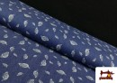 Tela Tejana Estampado Hojas color Azul