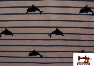 tela de punto con delfines