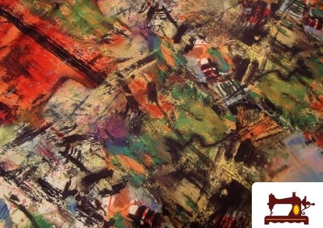 Tela de seda estampada inspiración pintura al oleo