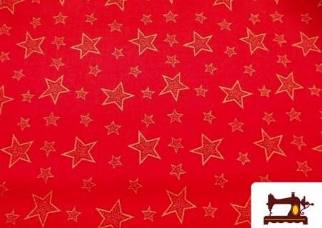 Retales de Algodón Fat Quarter Rojos para Patchwork Estampado Estrellas