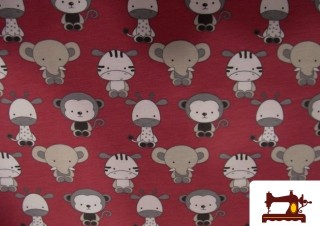 Tejido de punto de Camiseta Estampado infantil con Elefantes y Cebras