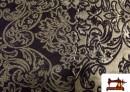 Tela de Brocado  Dorado con Terciopelo  Negro