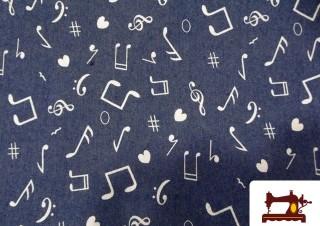 Comprar Tela tejano Estampada con Notas Musicales