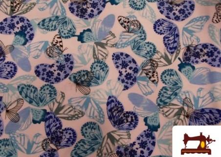 Tela de Punto Camiseta Estampado con Mariposas