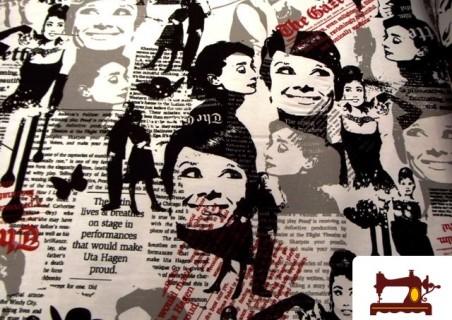 Tela con Motivos de la Actriz Audrey Hepburn