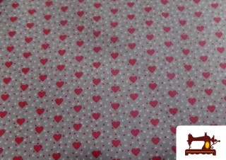 Tela de Algodón con Corazones Rojos Impermeable