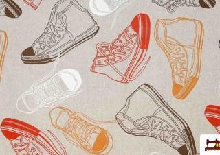 Tela Estampada Zapatillas Bambas Multicolor