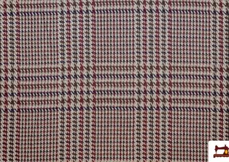 Tela de Cuadros Gales y Pata de Gallo Coordinados color Granate