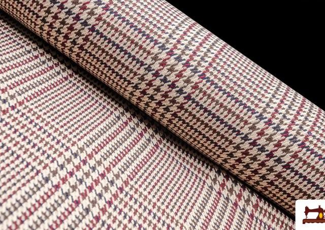 Comprar online Tela de Cuadros Gales y Pata de Gallo Coordinados color Granate