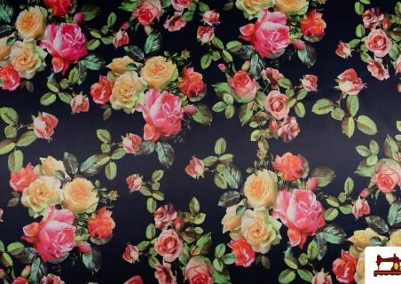 Tela con Estampado Floral de Algodón con Licra