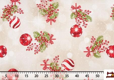 Tela de Decoración con Bolas de Navidad