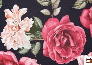 Tela Estampada de Algodón con Rosas y Claveles