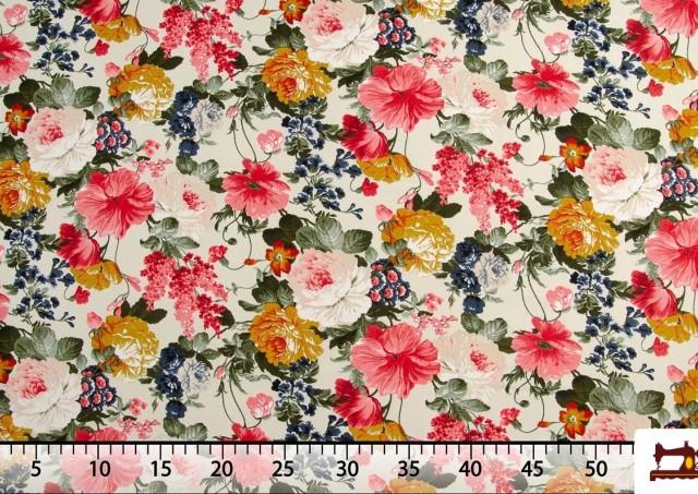 Venta de Tela con Estampado Floral Multicolor