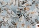 Venta online de Tela de Estampada Floral Multicolor para Decoración color Azul