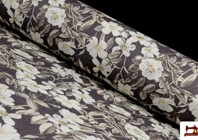 Venta de Tela de Estampada Floral Multicolor para Decoración color Marrón