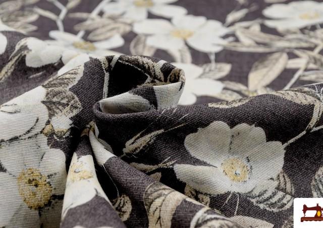 Comprar Tela de Estampada Floral Multicolor para Decoración color Marrón