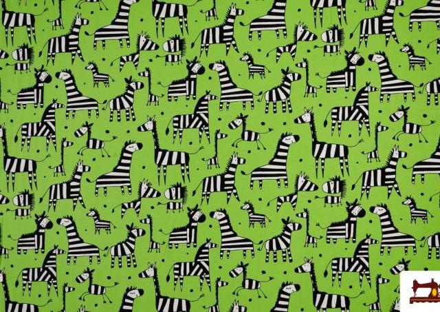 Tela de Punto de Camiseta con Jirafas