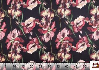 Tela de Flamenca de Flores Multicolor