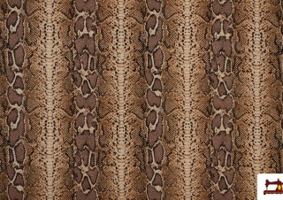 Tela de Loneta animal Print Piel de Serpiente color Marrón