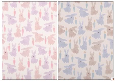 Tela de Algodón Estampado con Conejos de Colores