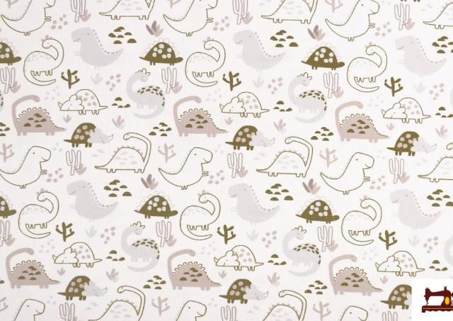 Tela de Pique Estampado Infantil con Dinosaurios