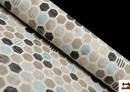 Tela de Loneta Estampada con Dibujo Geométrico Irregular Multicolor