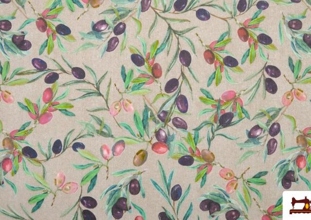 Comprar Tela de Loneta con Estampado de hojas de olivo