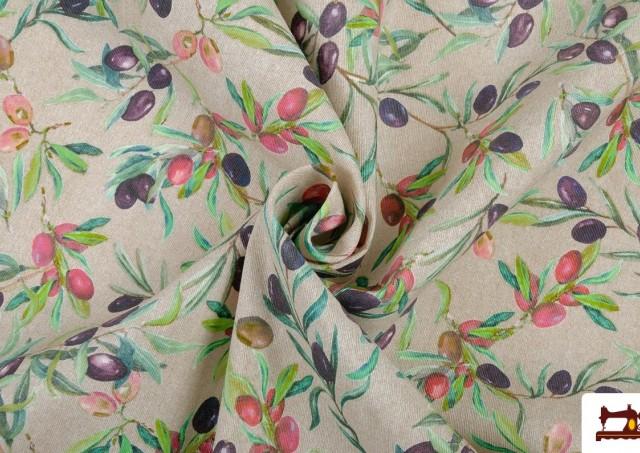 Comprar online Tela de Loneta con Estampado de hojas de olivo