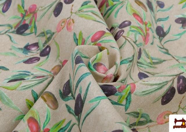 Venta online de Tela de Loneta con Estampado de hojas de olivo