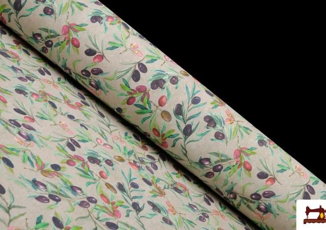 Tela de Loneta con Estampado de hojas de olivo
