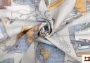 Tela de Loneta Estampada Juvenil con Motivos del Mapa del Mundo