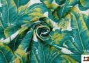 Tela de Loneta Estampada con Plantas Tropicales Verdes