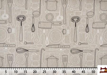 Tela de Loneta Estampada con Menaje de Cocina
