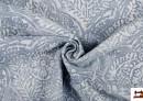 Tela de Loneta Estampada con Medallón Floral Difuminado Azul