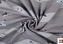 Tela Estampada de Punto de Camiseta con Aviones