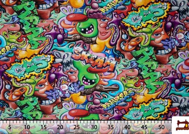 Tela de Sudadera Fina Estampada Graffiti Multicolor