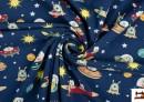 Tela de Punto Camiseta Estampada con Marcianos del Espacio